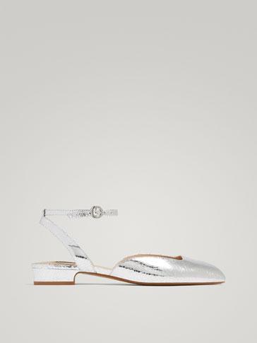 حذاء باليرينا جلد مظهر الشقوق