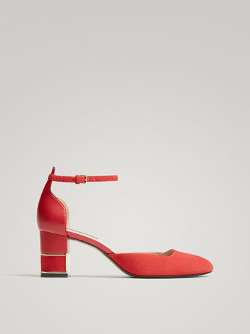 RED LEATHER HIGH HEEL COURT SHOES WITH ANKLE STRAPS