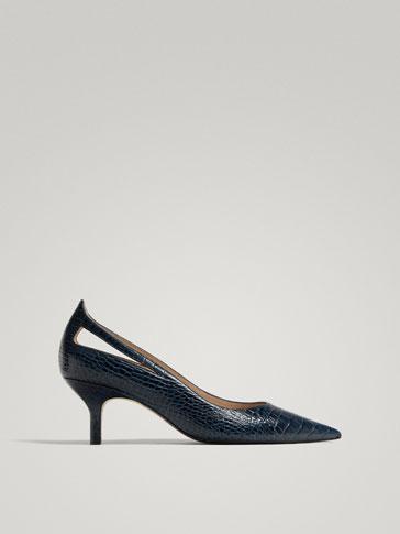 حذاء رسمي جلد منقوش طبعات زرقاء