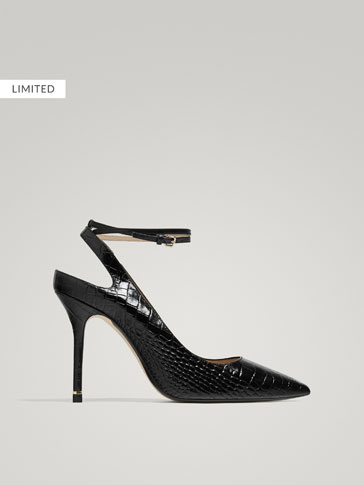 BLACK MOCK CROC LEATHER SLINGBACK HIGH HEEL COURT SHOES
