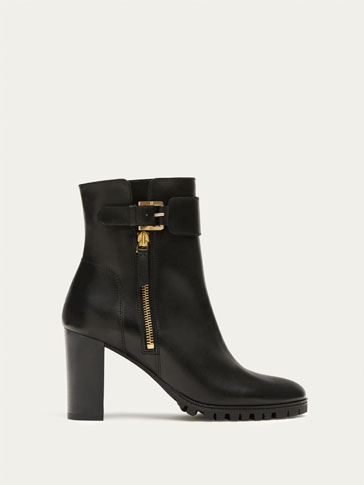 BLACK NAPPA LEATHER HIGH HEEL ANKLE BOOTS