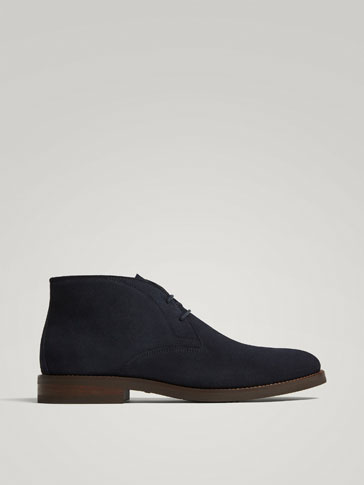 BLUE SPLIT SUEDE LEATHER ANKLE BOOTS