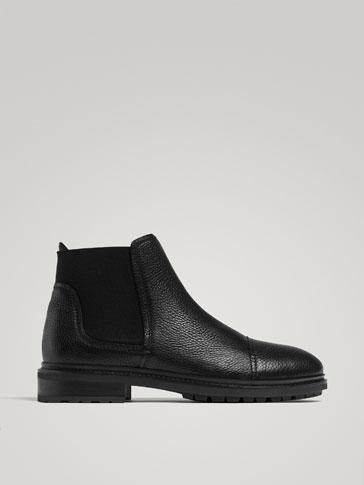 حذاء للكاحل تشيلسي جلد نابا أسود