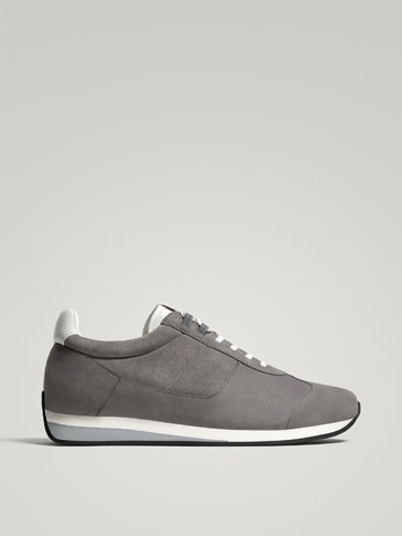 GREY SPLIT SUEDE LEATHER SNEAKERS