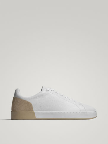 CONTRAST HEEL LEATHER SNEAKERS