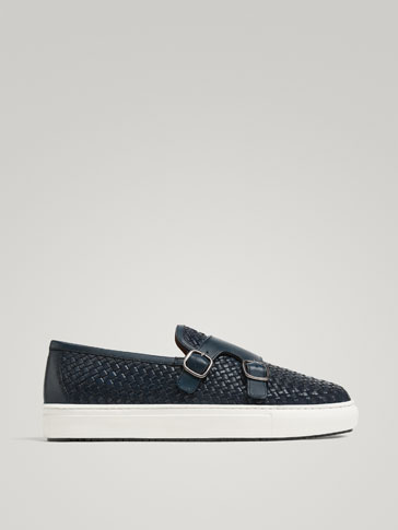 BLUE PLAITED LEATHER MONK SNEAKERS