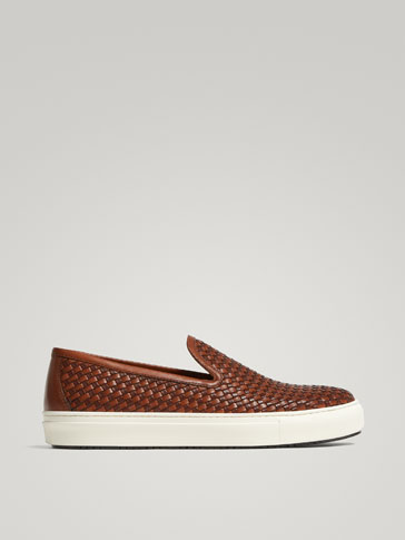Braided Leather Sneakers by Massimo Dutti