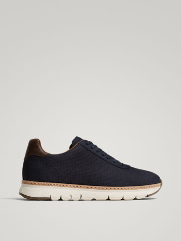 SCARPA CASUAL IN PELLE NABUCK INCISIONI BLU