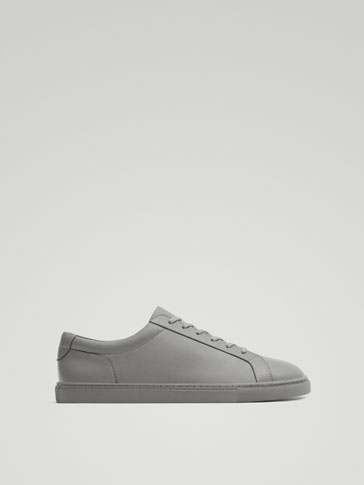 GREY LEATHER MONOCHROME SNEAKERS