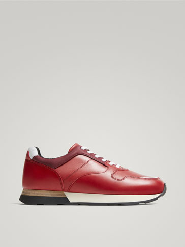 TENNIS ROUGES CUIR