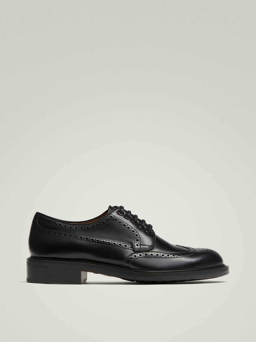 Black Leather Brogues by Massimo Dutti