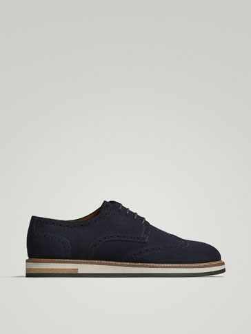 BLUE SPLIT SUEDE FLATFORM BROGUES