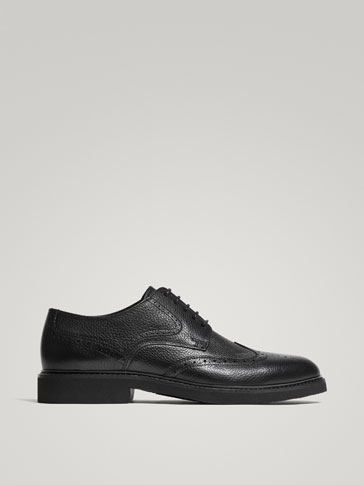 BLACK NAPPA LEATHER BROGUES