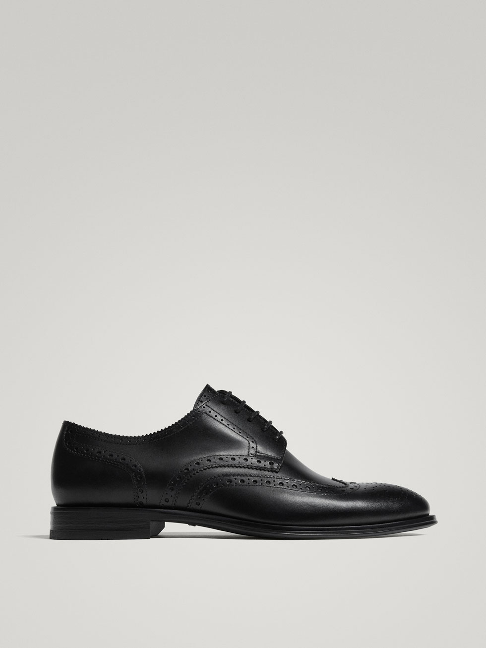 Black Leather Full Brogues by Massimo Dutti