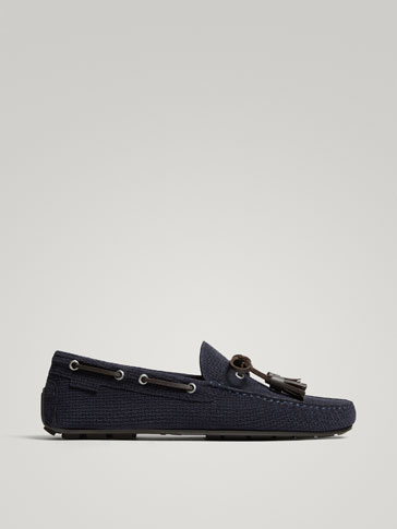 BLUE SPLIT SUEDE LEATHER KIOWA LOAFERS