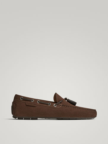 BROWN SPLIT SUEDE LEATHER KIOWA LOAFERS