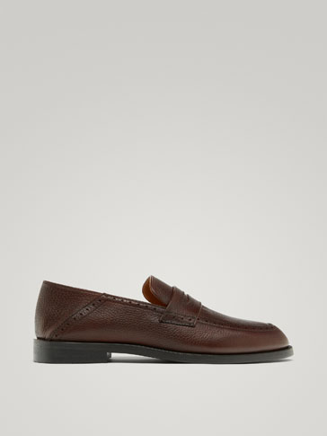 BROWN NAPPA MULE LOAFERS