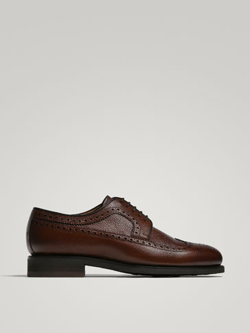 SCARPA DERBY GOODYEAR IN PELLE INCISA MARRONE