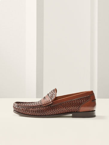 LIMITED EDITION BROWN BRAIDED LEATHER LOAFERS