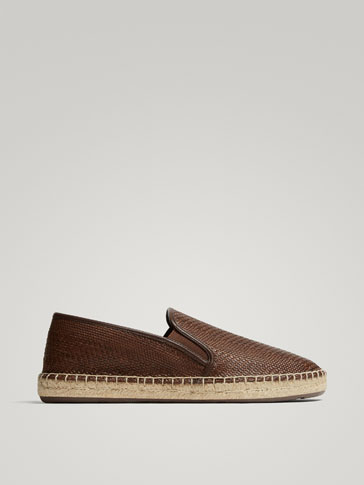 BROWN BRAIDED JUTE ESPADRILLES