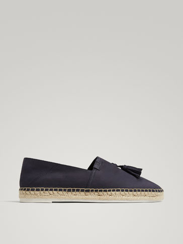 BLUE NUBUCK LEATHER JUTE ESPADRILLES WITH TASSELS
