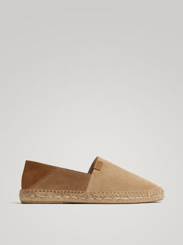 SAND-COLOURED SPLIT SUEDE JUTE ESPADRILLES
