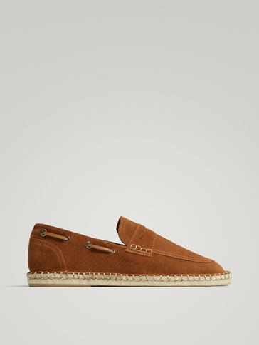 TOASTED BROWN SPLIT SUEDE JUTE ESPADRILLES