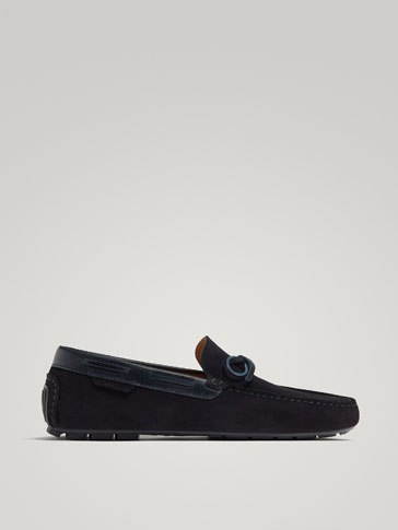 BLUE SPLIT SUEDE LEATHER LOAFERS