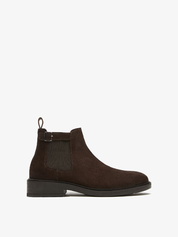 BROWN ELASTIC LEATHER ANKLE BOOTS