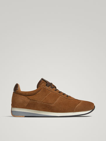 CAMEL SPLIT SUEDE LEATHER SNEAKERS