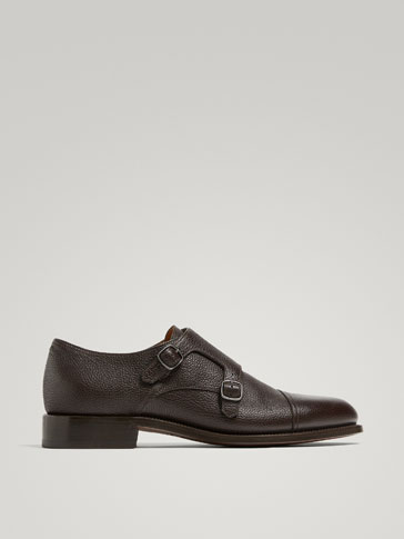 BROWN LEATHER MONK SHOES MADE IN ITALY