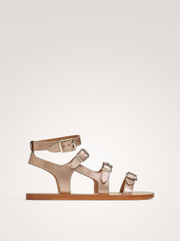METALLIC LEATHER SANDALS WITH BUCKLES