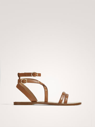 TAN LEATHER SANDALS WITH STUDS