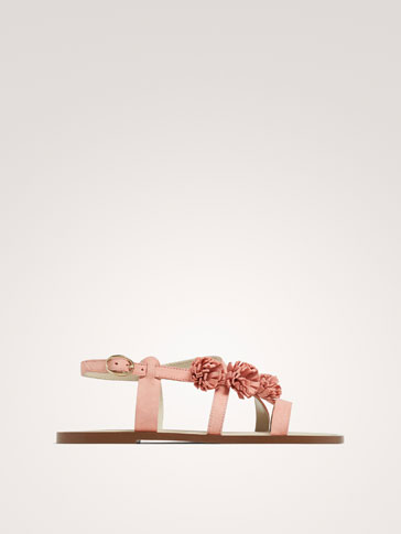 PINK FLORAL LEATHER SANDALS