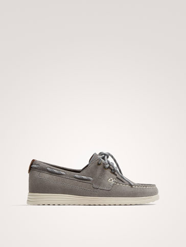GREY SPLIT SUEDE LEATHER DECK SHOES