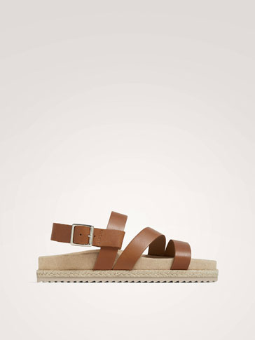 TAN LEATHER STRAPPY SANDALS