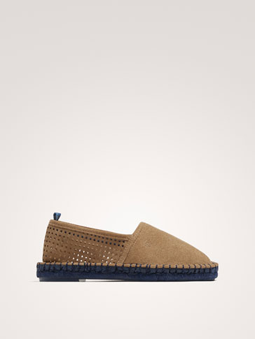 SAND-COLOURED LEATHER ESPADRILLES
