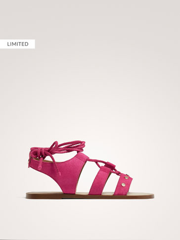 FUCHSIA LEATHER STRAPPY SANDALS