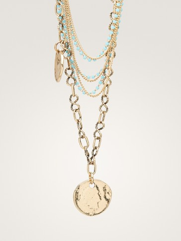 TURQUOISE MULTI-CHAIN NECKLACE