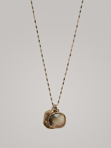NECKLACE WITH DOUBLE STONE