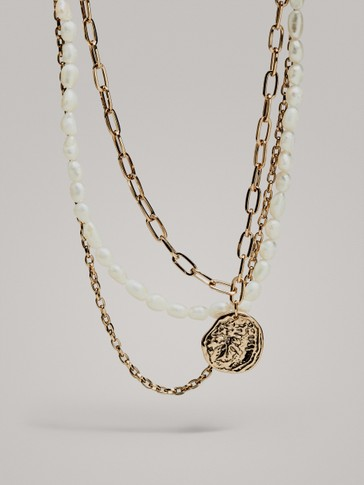 Contrast Pearl Double Chain Necklace by Massimo Dutti