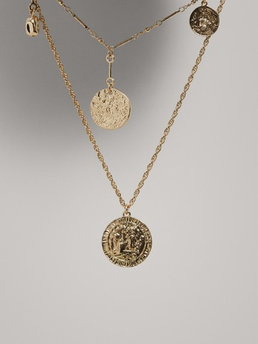 DOUBLE-CHAIN NECKLACE WITH COINS