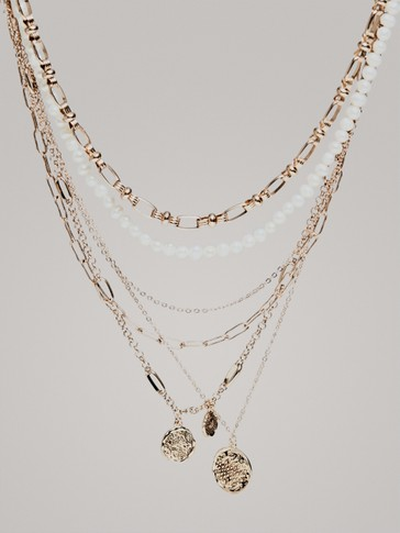 MULTI-CHAIN COIN PEARL NECKLACE