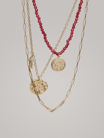 Coin And Stone Necklace by Massimo Dutti