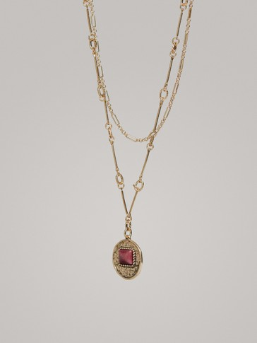 Double Chain Necklace With Medallion by Massimo Dutti