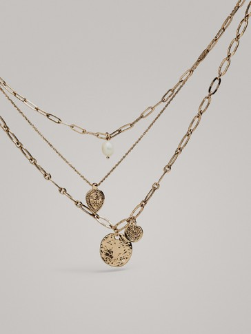 MULTI-CHAIN COIN NECKLACE