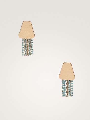 EARRINGS WITH BLUE BEAD DETAIL