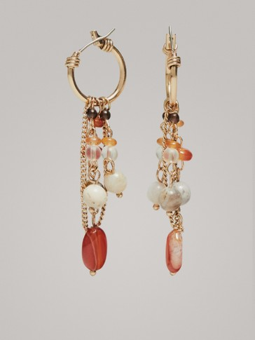 MULTI-CHAIN AND STONE EARRINGS