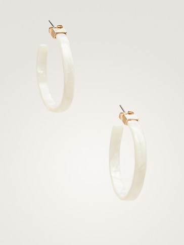 LARGE WHITE ACETATE HOOP EARRINGS