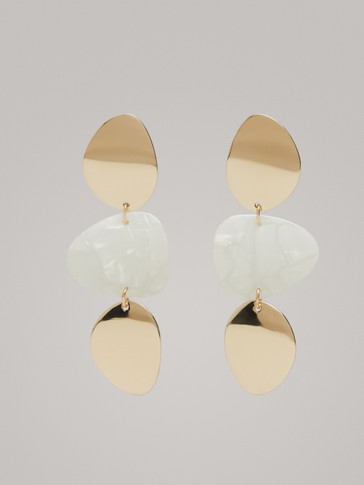 METAL AND ACETATE THREE-PIECE EARRINGS